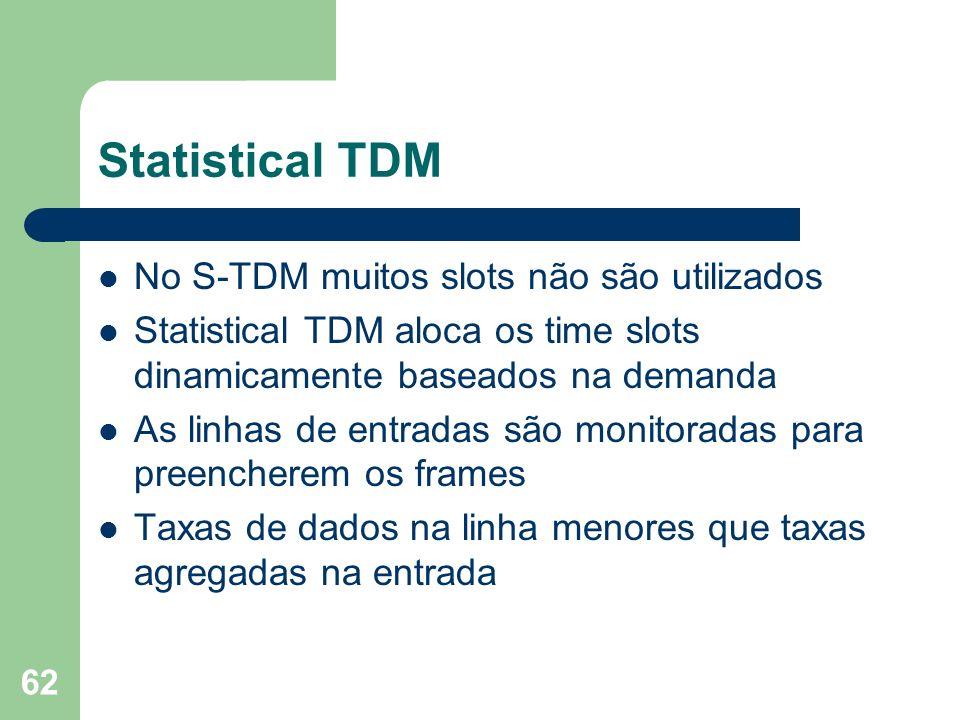 62 Statistical TDM No S-TDM muitos slots não são utilizados Statistical TDM aloca os time slots dinamicamente baseados na demanda As linhas de entrada