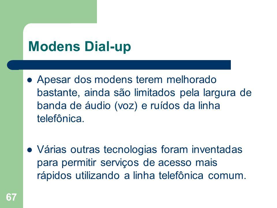 67 Modens Dial-up Apesar dos modens terem melhorado bastante, ainda são limitados pela largura de banda de áudio (voz) e ruídos da linha telefônica. V