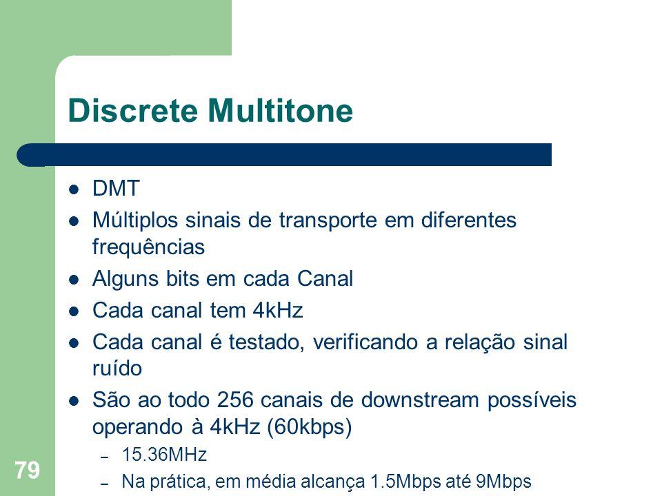 79 Discrete Multitone DMT Múltiplos sinais de transporte em diferentes frequências Alguns bits em cada Canal Cada canal tem 4kHz Cada canal é testado,