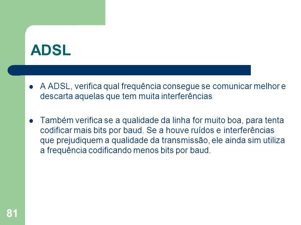 81 ADSL A ADSL, verifica qual frequência consegue se comunicar melhor e descarta aquelas que tem muita interferências Também verifica se a qualidade d