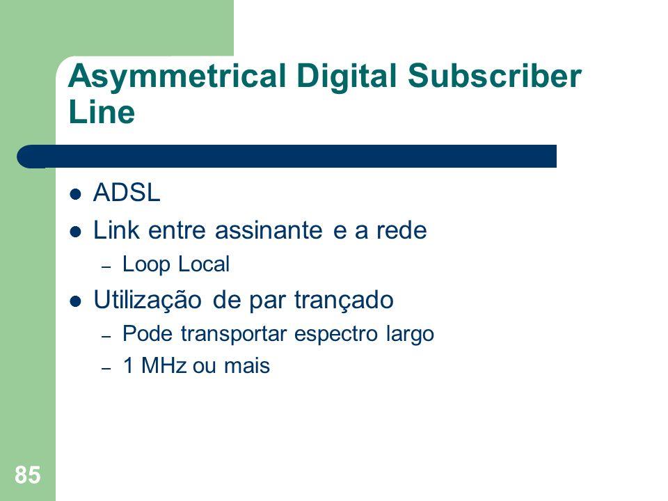 85 Asymmetrical Digital Subscriber Line ADSL Link entre assinante e a rede – Loop Local Utilização de par trançado – Pode transportar espectro largo –
