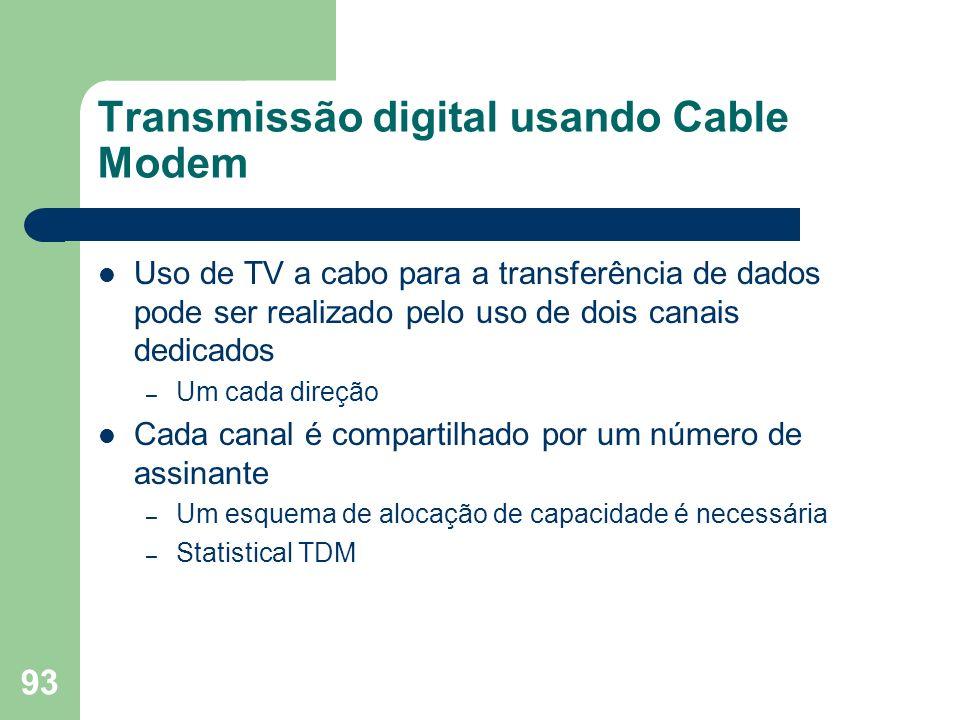 93 Transmissão digital usando Cable Modem Uso de TV a cabo para a transferência de dados pode ser realizado pelo uso de dois canais dedicados – Um cad