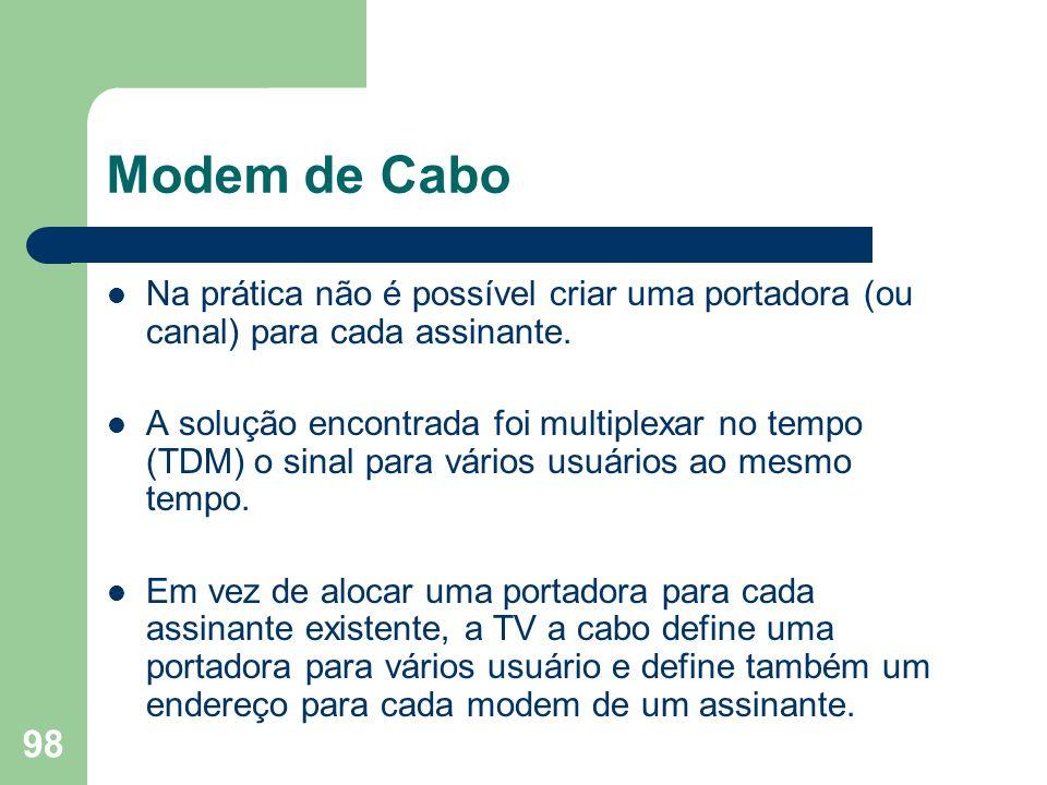 98 Modem de Cabo Na prática não é possível criar uma portadora (ou canal) para cada assinante. A solução encontrada foi multiplexar no tempo (TDM) o s