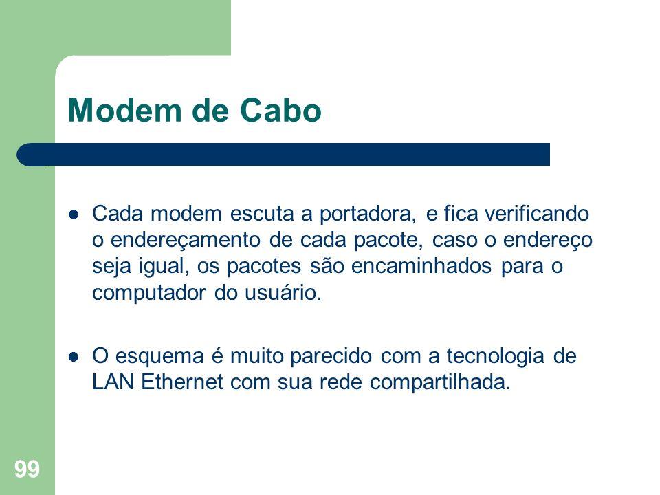 99 Modem de Cabo Cada modem escuta a portadora, e fica verificando o endereçamento de cada pacote, caso o endereço seja igual, os pacotes são encaminh