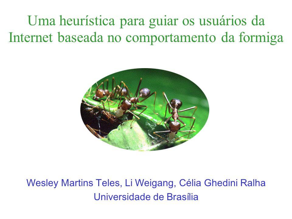 A meta heurística da formiga Baseada no comportamento da formiga real.