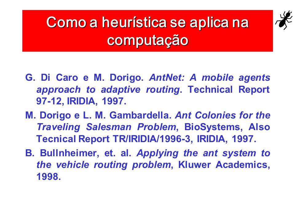 Como a heurística se aplica na computação G. Di Caro e M. Dorigo. AntNet: A mobile agents approach to adaptive routing. Technical Report 97-12, IRIDIA