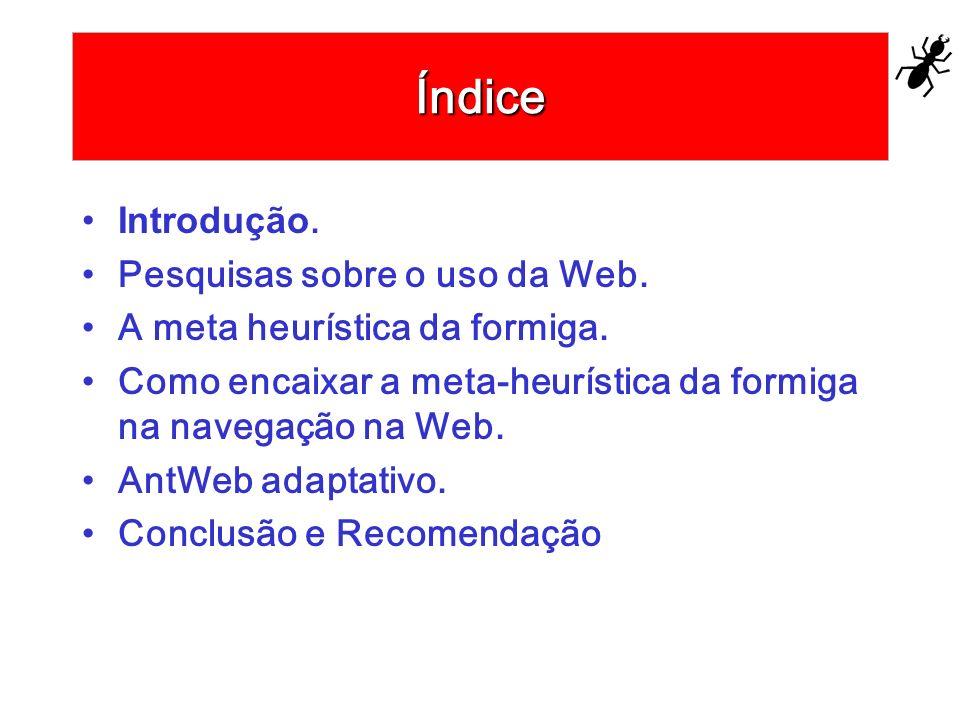 Índice Introdução. Pesquisas sobre o uso da Web. A meta heurística da formiga. Como encaixar a meta-heurística da formiga na navegação na Web. AntWeb