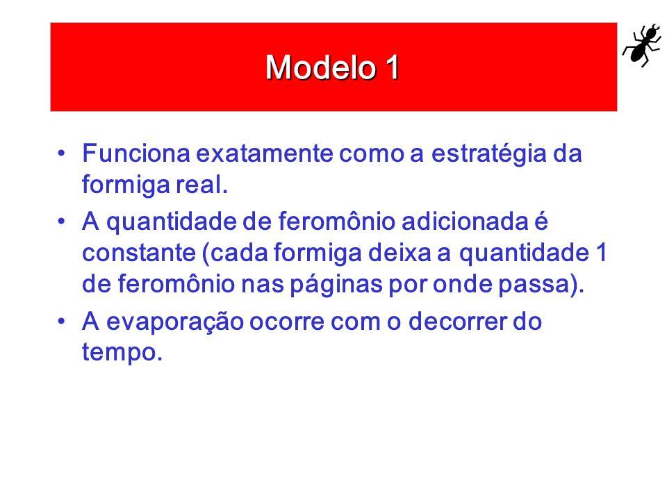 Modelo 1 Funciona exatamente como a estratégia da formiga real. A quantidade de feromônio adicionada é constante (cada formiga deixa a quantidade 1 de