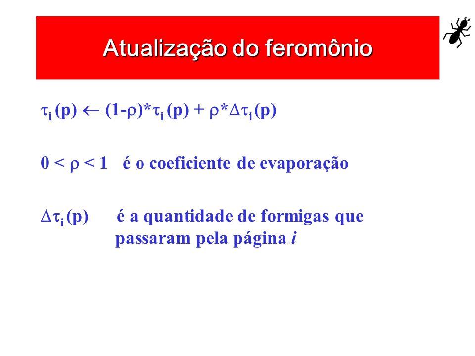 Atualização do feromônio i (p) (1- )* i (p) + * i (p) 0 < < 1 é o coeficiente de evaporação i (p) é a quantidade de formigas que passaram pela página