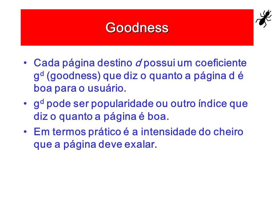 Goodness Cada página destino d possui um coeficiente g d (goodness) que diz o quanto a página d é boa para o usuário. g d pode ser popularidade ou out