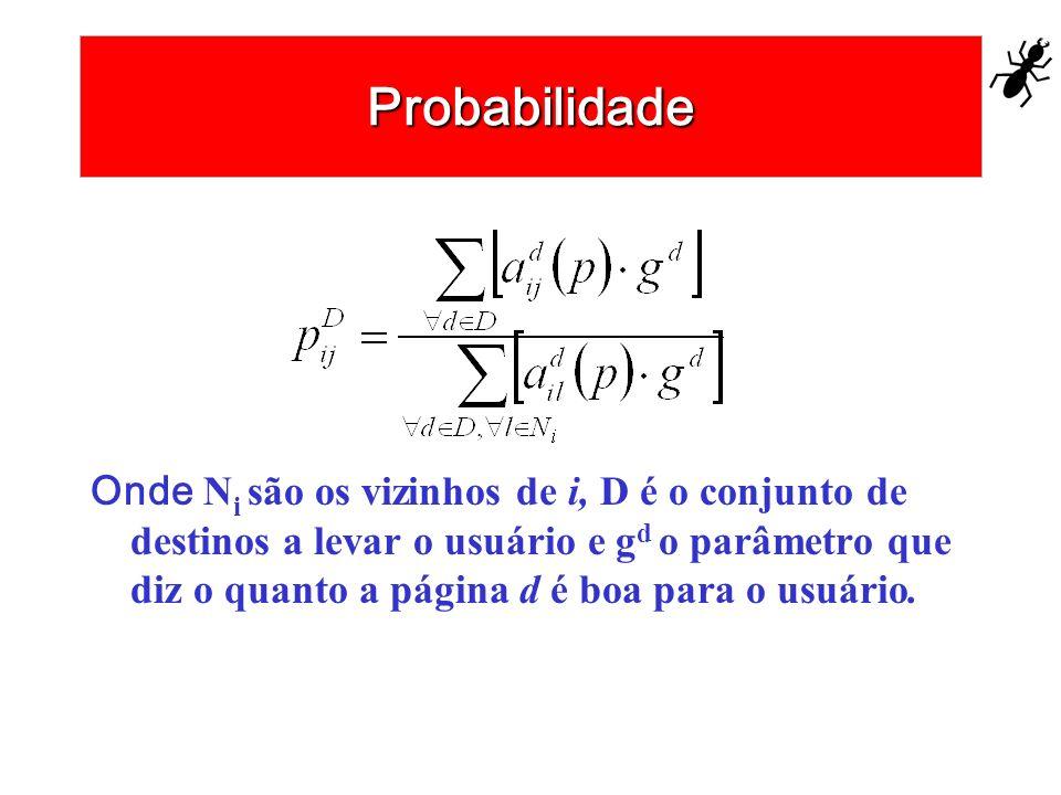 Probabilidade Onde N i são os vizinhos de i, D é o conjunto de destinos a levar o usuário e g d o parâmetro que diz o quanto a página d é boa para o u