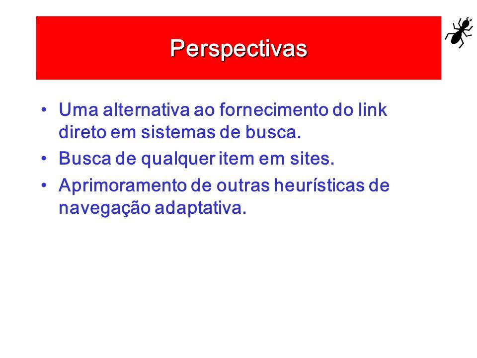 Perspectivas Uma alternativa ao fornecimento do link direto em sistemas de busca. Busca de qualquer item em sites. Aprimoramento de outras heurísticas