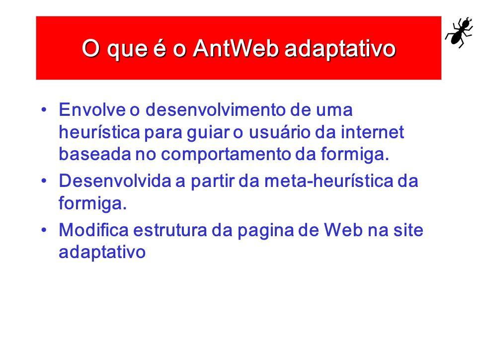 O que é o AntWeb adaptativo Envolve o desenvolvimento de uma heurística para guiar o usuário da internet baseada no comportamento da formiga. Desenvol