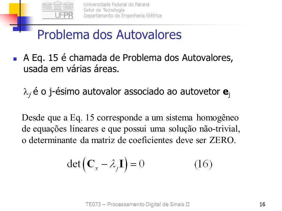 Universidade Federal do Paraná Setor de Tecnologia Departamento de Engenharia Elétrica TE073 – Processamento Digital de Sinais II16 Problema dos Autov