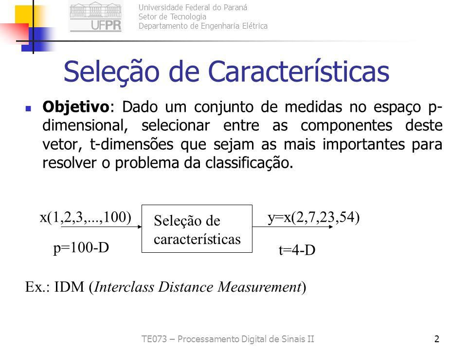 Universidade Federal do Paraná Setor de Tecnologia Departamento de Engenharia Elétrica TE073 – Processamento Digital de Sinais II2 Seleção de Caracter