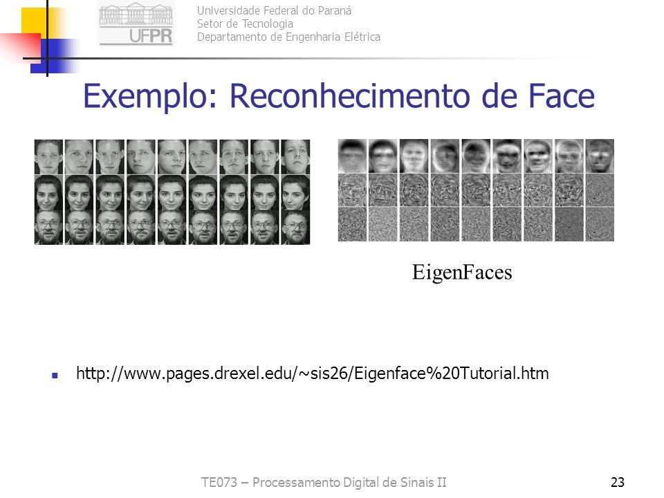 Universidade Federal do Paraná Setor de Tecnologia Departamento de Engenharia Elétrica TE073 – Processamento Digital de Sinais II23 Exemplo: Reconheci