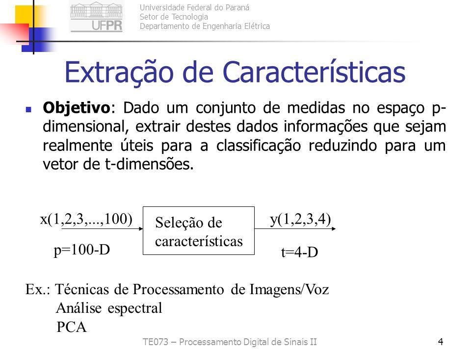 Universidade Federal do Paraná Setor de Tecnologia Departamento de Engenharia Elétrica TE073 – Processamento Digital de Sinais II4 Extração de Caracte