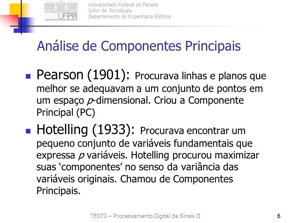 Universidade Federal do Paraná Setor de Tecnologia Departamento de Engenharia Elétrica TE073 – Processamento Digital de Sinais II6 Análise de Componen