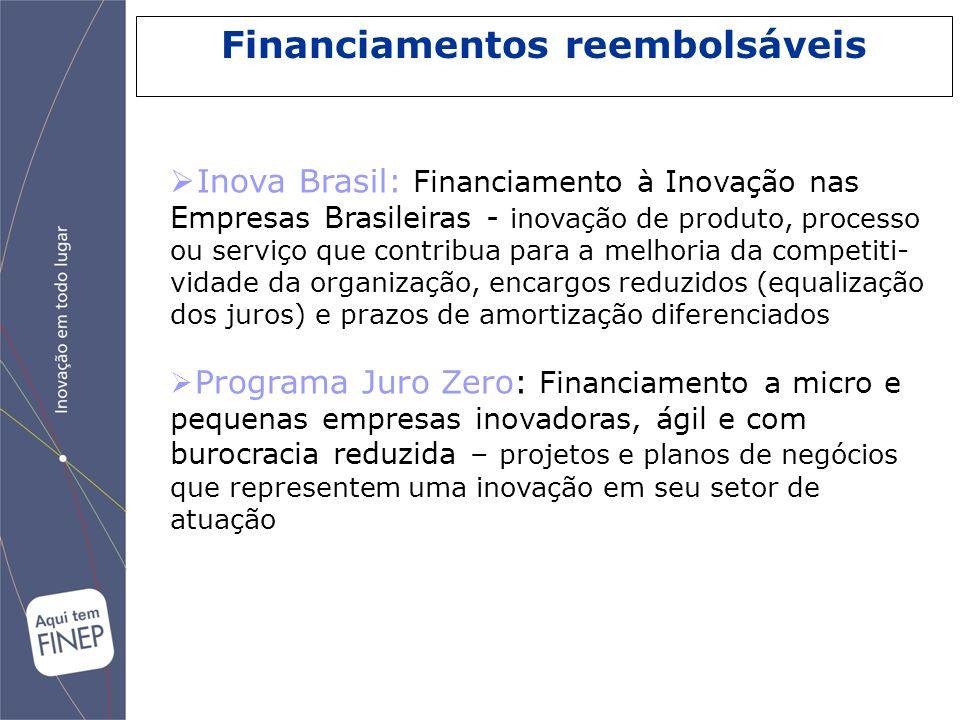 Inova Brasil: Financiamento à Inovação nas Empresas Brasileiras - inovação de produto, processo ou serviço que contribua para a melhoria da competiti-