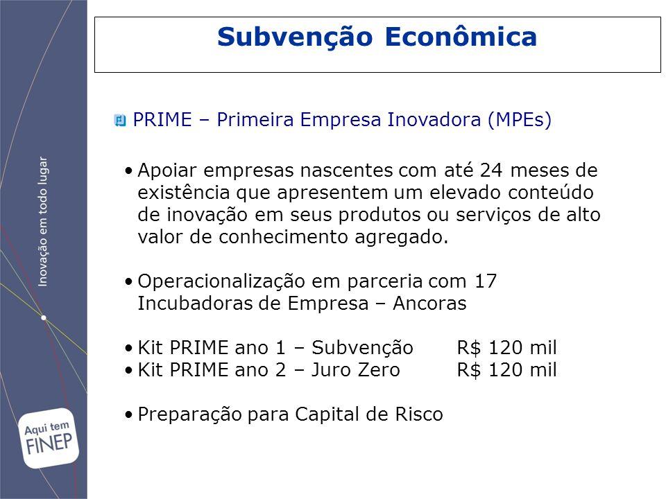Subvenção Econômica PRIME – Primeira Empresa Inovadora (MPEs) Apoiar empresas nascentes com até 24 meses de existência que apresentem um elevado conte