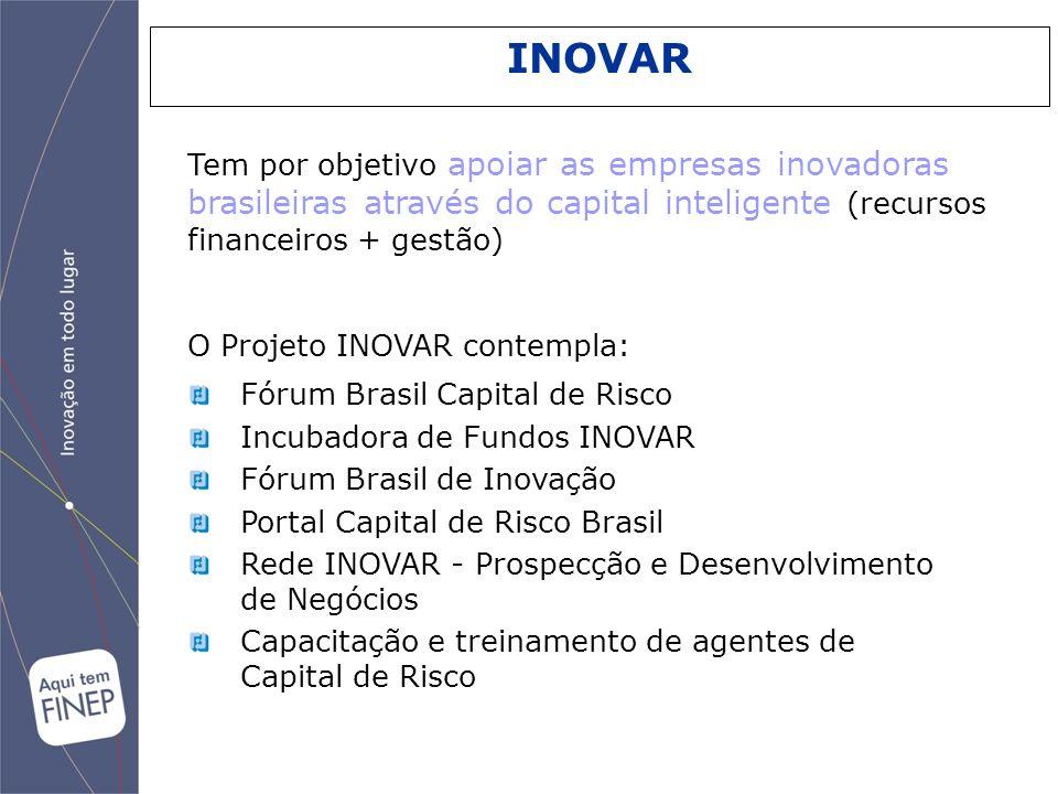 Fórum Brasil Capital de Risco Incubadora de Fundos INOVAR Fórum Brasil de Inovação Portal Capital de Risco Brasil Rede INOVAR - Prospecção e Desenvolv