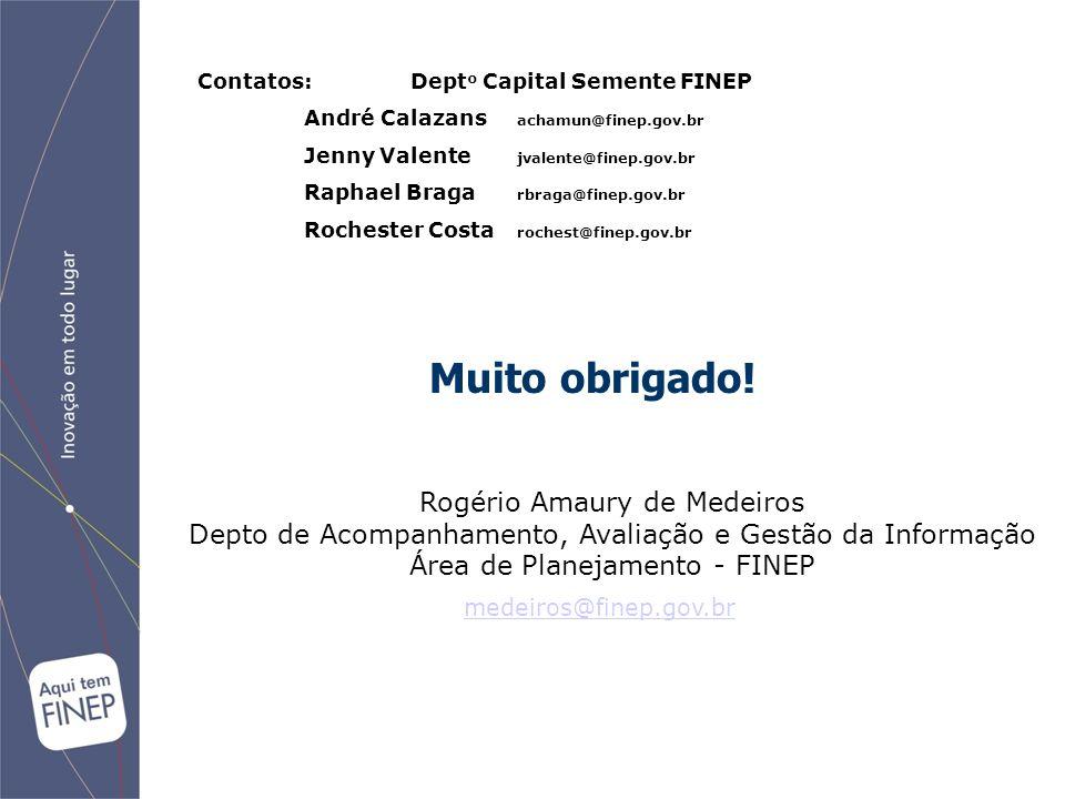 Muito obrigado! Rogério Amaury de Medeiros Depto de Acompanhamento, Avaliação e Gestão da Informação Área de Planejamento - FINEP medeiros@finep.gov.b