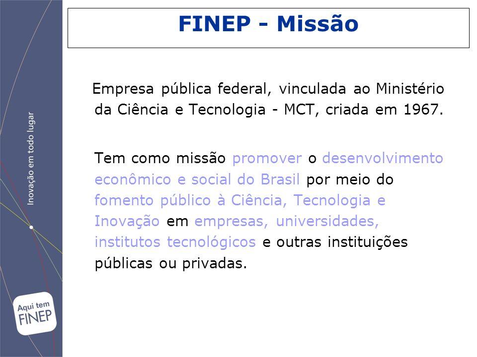 O apoio da FINEP abrange todo o ciclo de C,T&I, da pesquisa básica até o desenvolvimento de produtos, serviços e processos nas empresas.