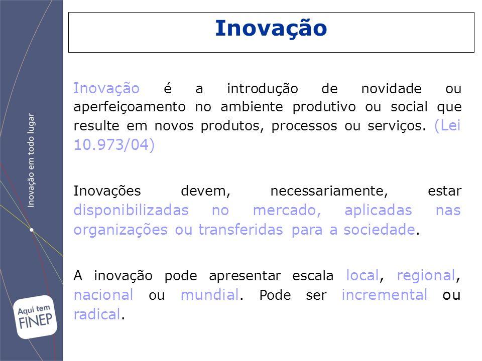Inovação é a introdução de novidade ou aperfeiçoamento no ambiente produtivo ou social que resulte em novos produtos, processos ou serviços. (Lei 10.9