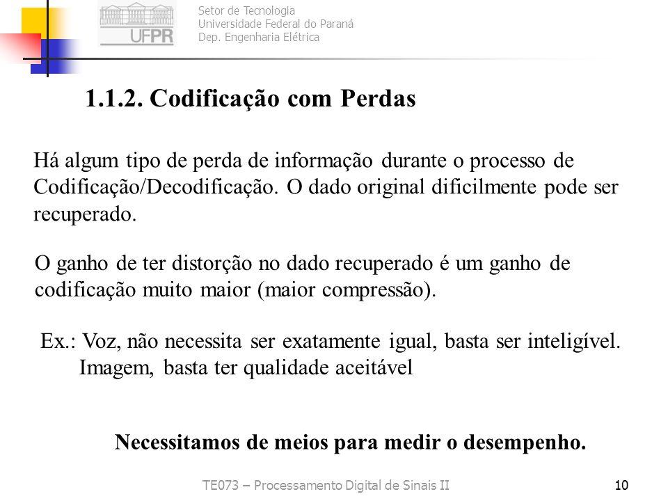 Setor de Tecnologia Universidade Federal do Paraná Dep. Engenharia Elétrica TE073 – Processamento Digital de Sinais II10 1.1.2. Codificação com Perdas