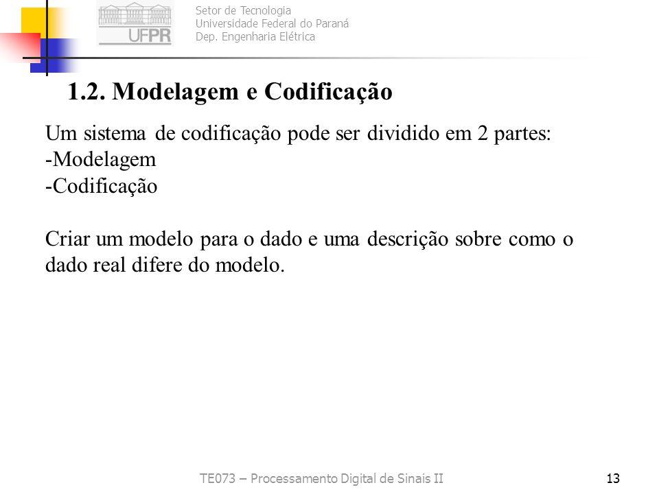 Setor de Tecnologia Universidade Federal do Paraná Dep. Engenharia Elétrica TE073 – Processamento Digital de Sinais II13 1.2. Modelagem e Codificação