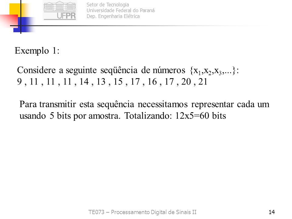 Setor de Tecnologia Universidade Federal do Paraná Dep. Engenharia Elétrica TE073 – Processamento Digital de Sinais II14 Exemplo 1: Considere a seguin