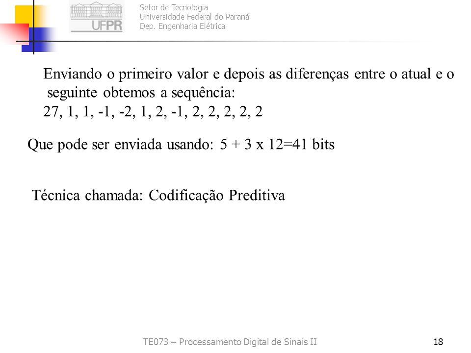 Setor de Tecnologia Universidade Federal do Paraná Dep. Engenharia Elétrica TE073 – Processamento Digital de Sinais II18 Enviando o primeiro valor e d