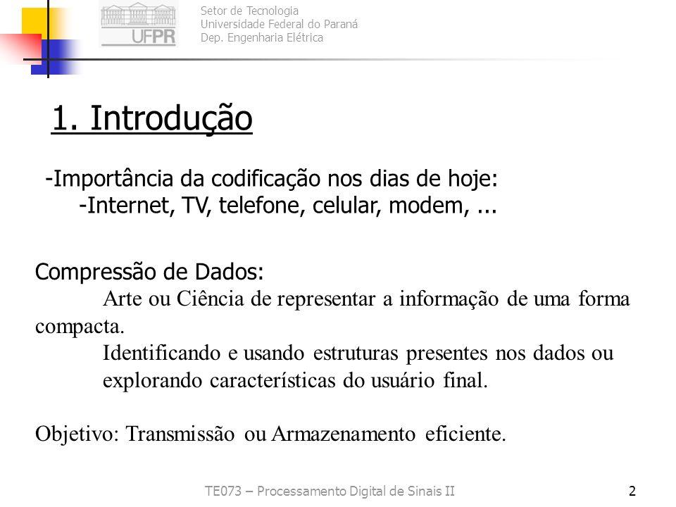 Setor de Tecnologia Universidade Federal do Paraná Dep. Engenharia Elétrica TE073 – Processamento Digital de Sinais II2 1. Introdução - -Importância d