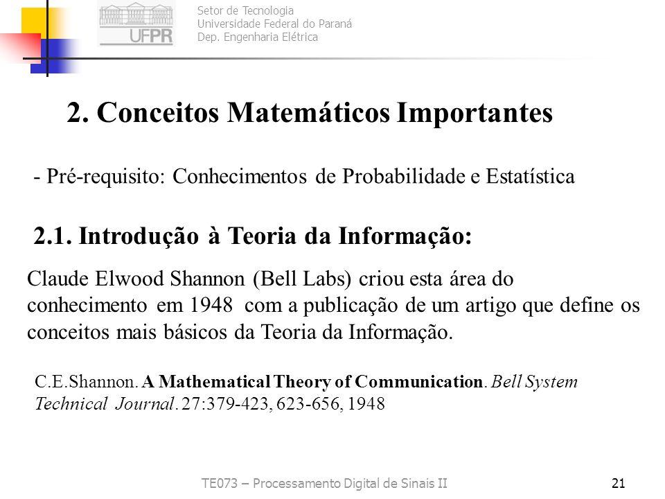 Setor de Tecnologia Universidade Federal do Paraná Dep. Engenharia Elétrica TE073 – Processamento Digital de Sinais II21 2. Conceitos Matemáticos Impo