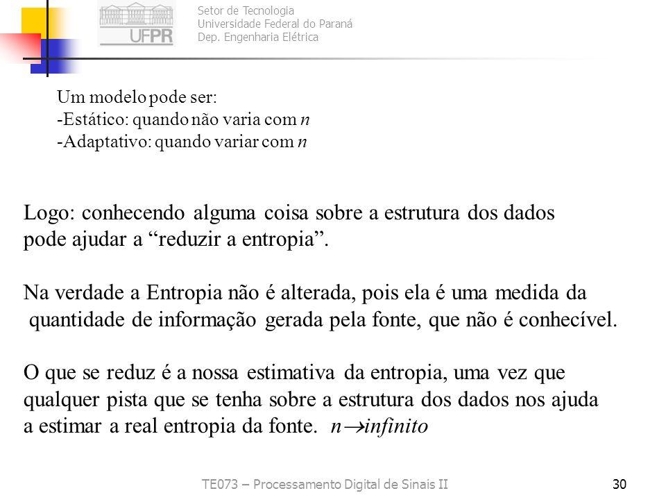Setor de Tecnologia Universidade Federal do Paraná Dep. Engenharia Elétrica TE073 – Processamento Digital de Sinais II30 Um modelo pode ser: -Estático