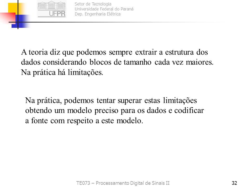 Setor de Tecnologia Universidade Federal do Paraná Dep. Engenharia Elétrica TE073 – Processamento Digital de Sinais II32 A teoria diz que podemos semp