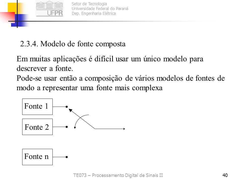 Setor de Tecnologia Universidade Federal do Paraná Dep. Engenharia Elétrica TE073 – Processamento Digital de Sinais II40 2.3.4. Modelo de fonte compos