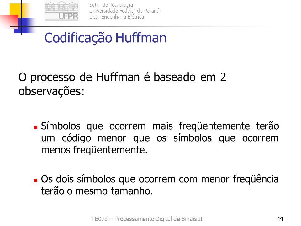 Setor de Tecnologia Universidade Federal do Paraná Dep. Engenharia Elétrica TE073 – Processamento Digital de Sinais II44 Codificação Huffman O process