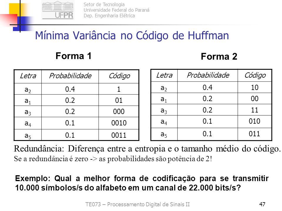 Setor de Tecnologia Universidade Federal do Paraná Dep. Engenharia Elétrica TE073 – Processamento Digital de Sinais II47 Mínima Variância no Código de