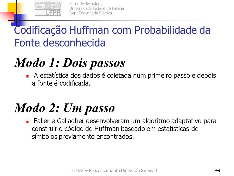 Setor de Tecnologia Universidade Federal do Paraná Dep. Engenharia Elétrica TE073 – Processamento Digital de Sinais II49 Codificação Huffman com Proba