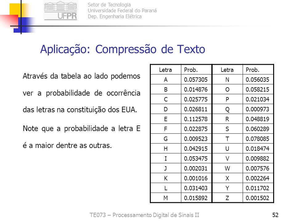 Setor de Tecnologia Universidade Federal do Paraná Dep. Engenharia Elétrica TE073 – Processamento Digital de Sinais II52 Aplicação: Compressão de Text