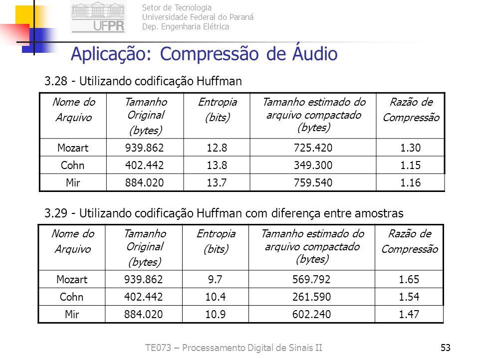 Setor de Tecnologia Universidade Federal do Paraná Dep. Engenharia Elétrica TE073 – Processamento Digital de Sinais II53 Aplicação: Compressão de Áudi