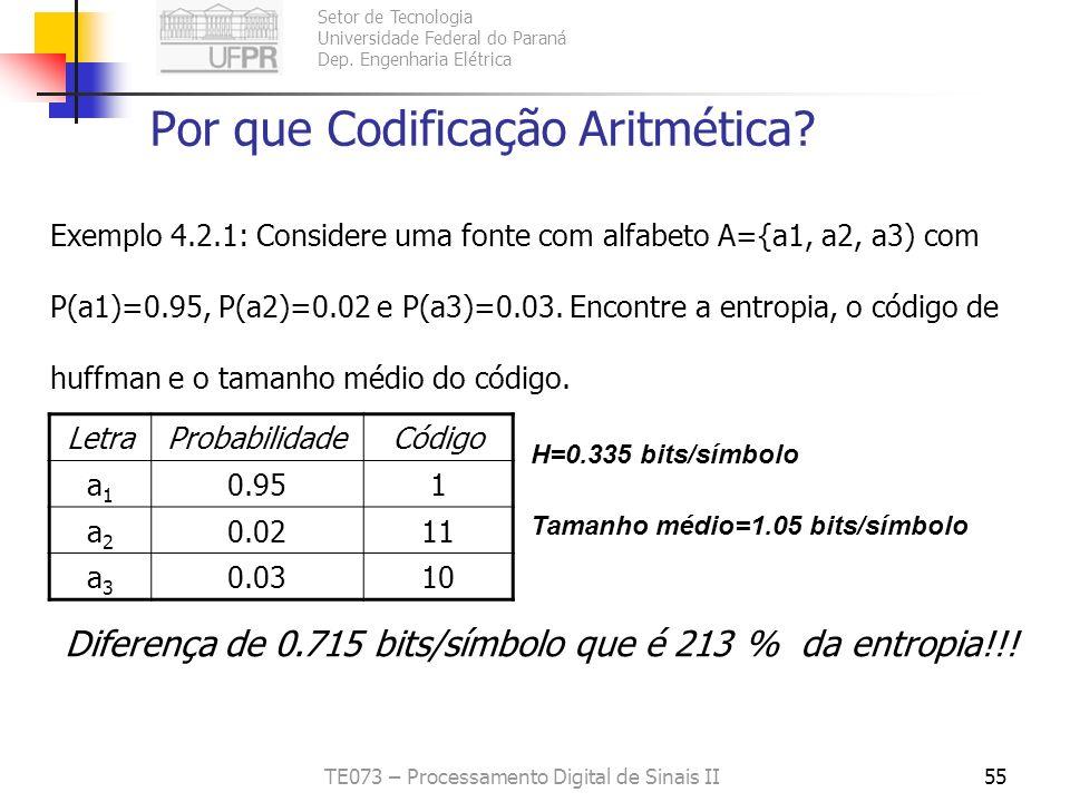 Setor de Tecnologia Universidade Federal do Paraná Dep. Engenharia Elétrica TE073 – Processamento Digital de Sinais II55 Por que Codificação Aritmétic