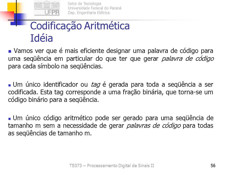 Setor de Tecnologia Universidade Federal do Paraná Dep. Engenharia Elétrica TE073 – Processamento Digital de Sinais II56 Codificação Aritmética Idéia