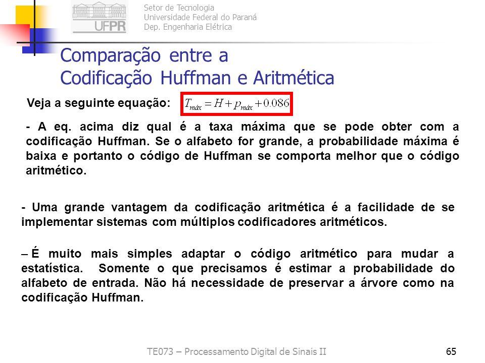 Setor de Tecnologia Universidade Federal do Paraná Dep. Engenharia Elétrica TE073 – Processamento Digital de Sinais II65 Comparação entre a Codificaçã