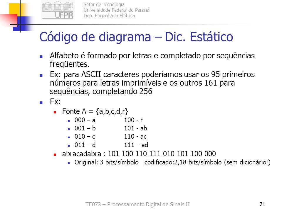 Setor de Tecnologia Universidade Federal do Paraná Dep. Engenharia Elétrica TE073 – Processamento Digital de Sinais II71 Código de diagrama – Dic. Est