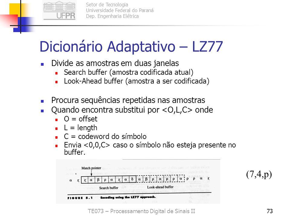 Setor de Tecnologia Universidade Federal do Paraná Dep. Engenharia Elétrica TE073 – Processamento Digital de Sinais II73 Dicionário Adaptativo – LZ77