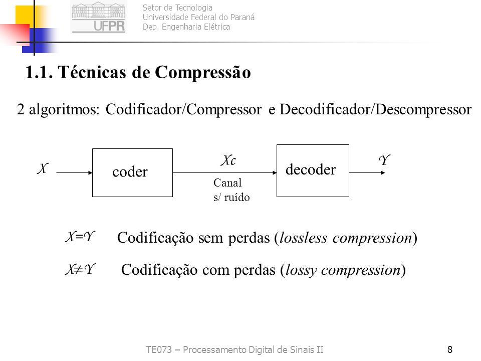 Setor de Tecnologia Universidade Federal do Paraná Dep. Engenharia Elétrica TE073 – Processamento Digital de Sinais II8 1.1. Técnicas de Compressão 2