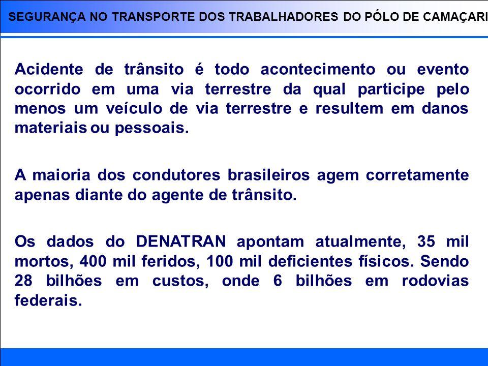SEGURANÇA NO TRANSPORTE DOS TRABALHADORES DO PÓLO DE CAMAÇARI A BR-324 compreende aproximadamente 20% dos acidentes ocorridos em toda malha rodoviária federal da Bahia; O trecho mais crítico desta rodovia está compreendido do quilômetro 603 (Entrada da cidade de Simões Filho) ao quilômetro 626 (Entrada da cidade de Salvador).