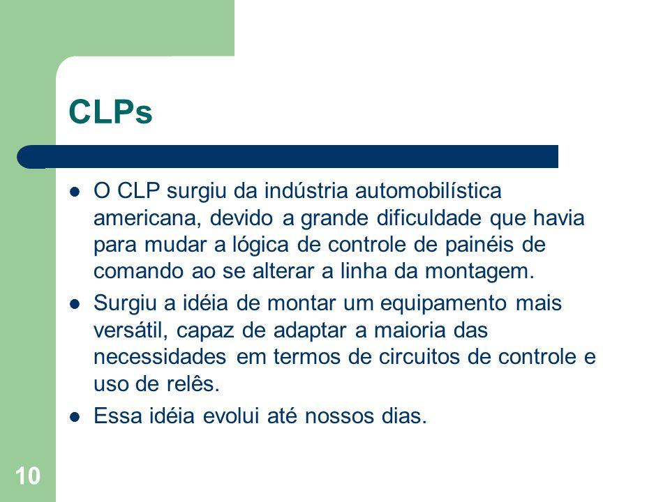10 CLPs O CLP surgiu da indústria automobilística americana, devido a grande dificuldade que havia para mudar a lógica de controle de painéis de coman